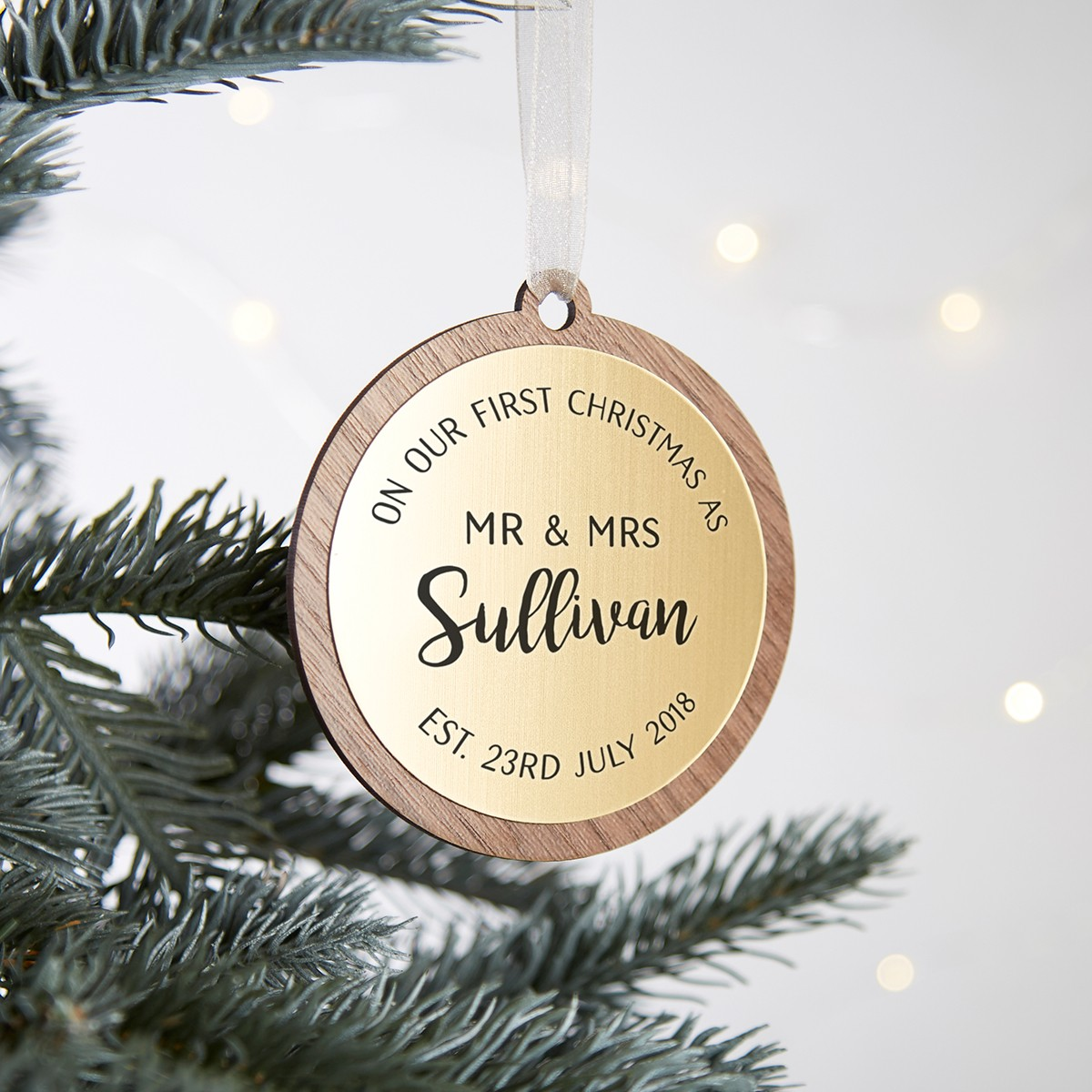 First Married Christmas Personalised Wooden Bauble Norma Dorothy