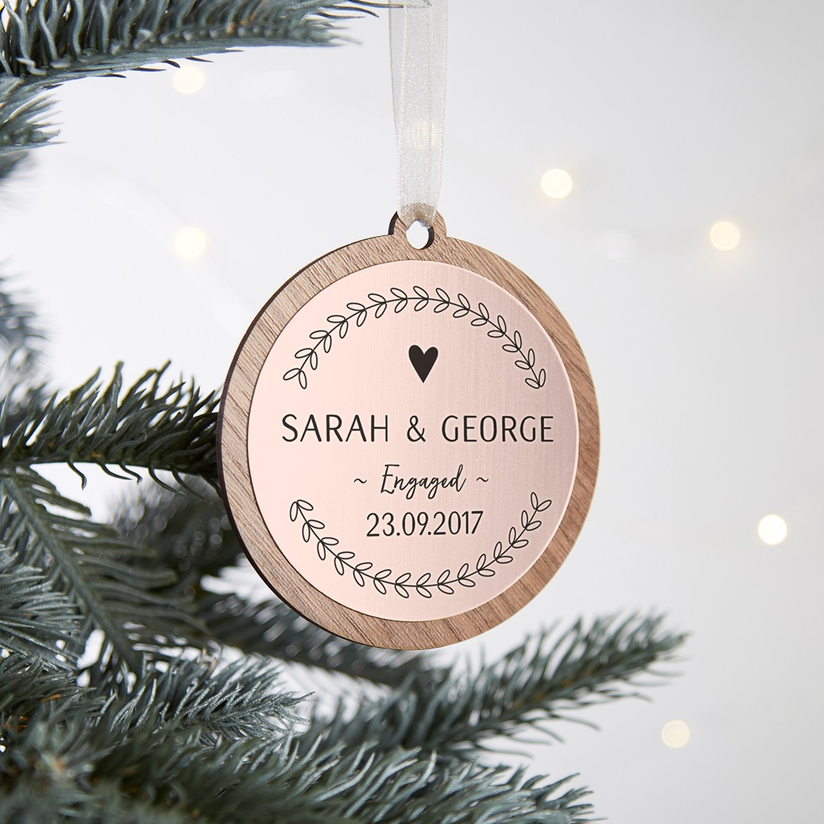 Engagement Christmas Decoration Rose Gold Personalised