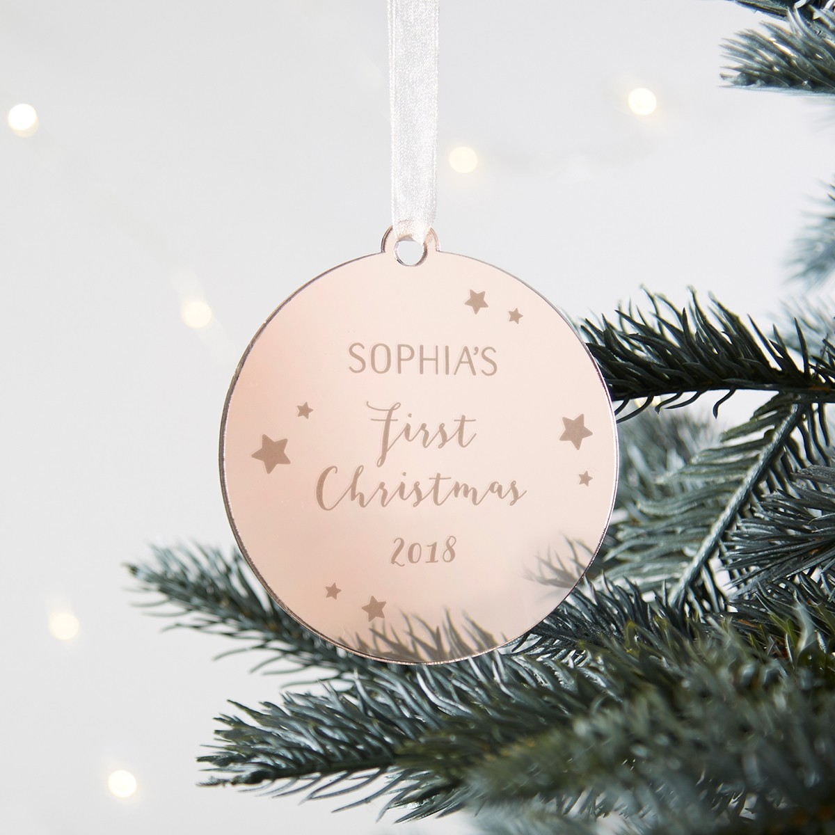 Baby S First Christmas Personalised Gold Bauble Norma Dorothy