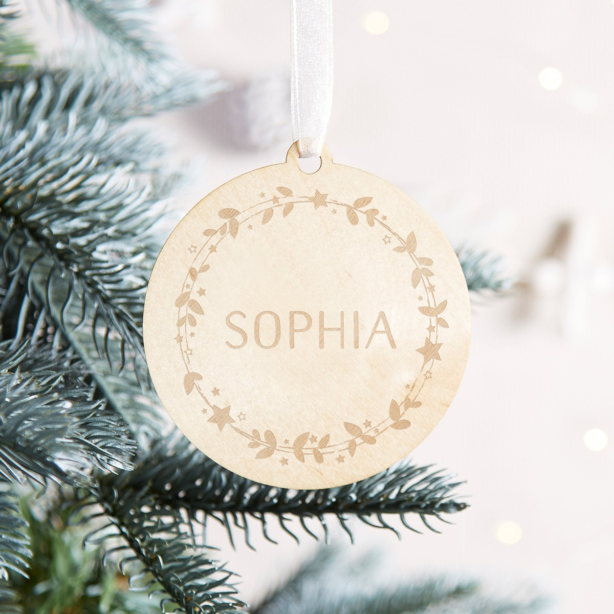 Personalised Wooden Rustic Christmas Bauble Norma Dorothy