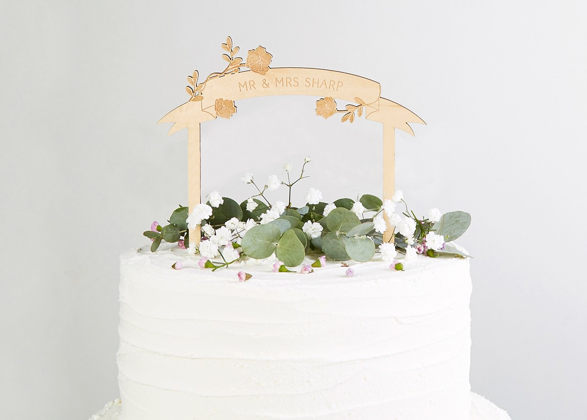 8060a7ae4430f Wooden Rustic Wedding Cake Topper