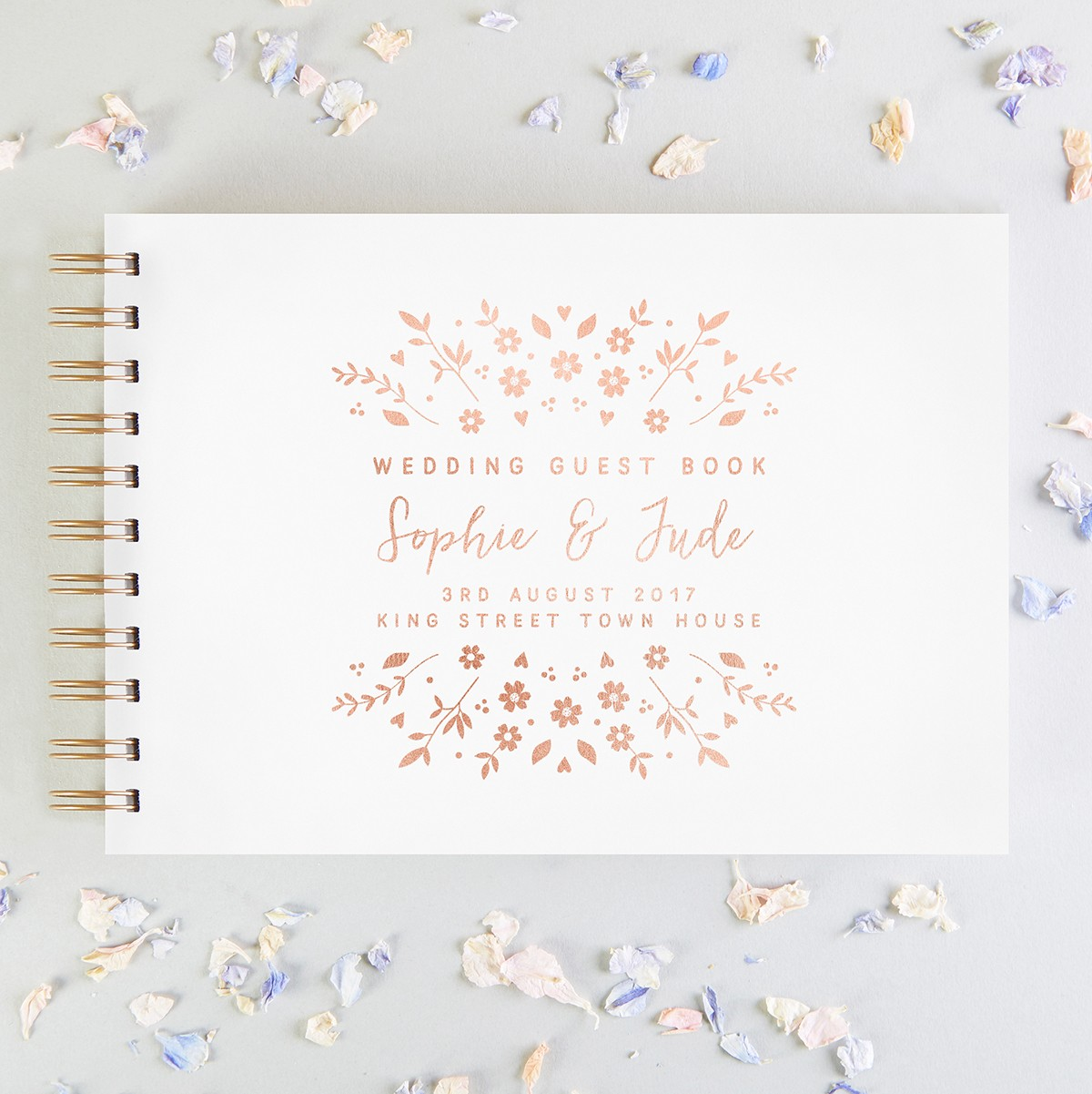Personalized Wedding Guest Book.Floral Personalised Wedding Guest Book