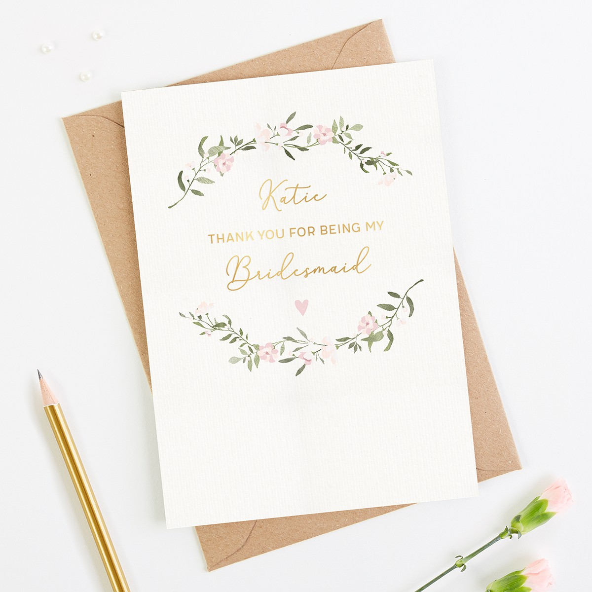 90065cce31 Thank You Bridesmaid Personalised Foil Card | norma&dorothy