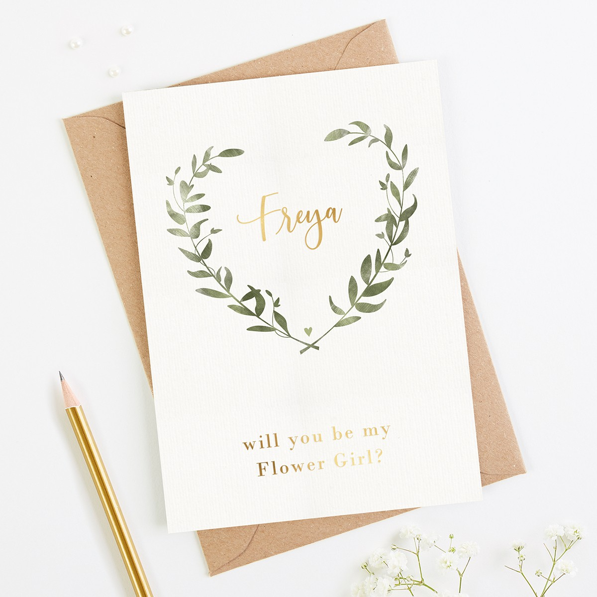 will you be my flower girl botanical foil card  normadorothy