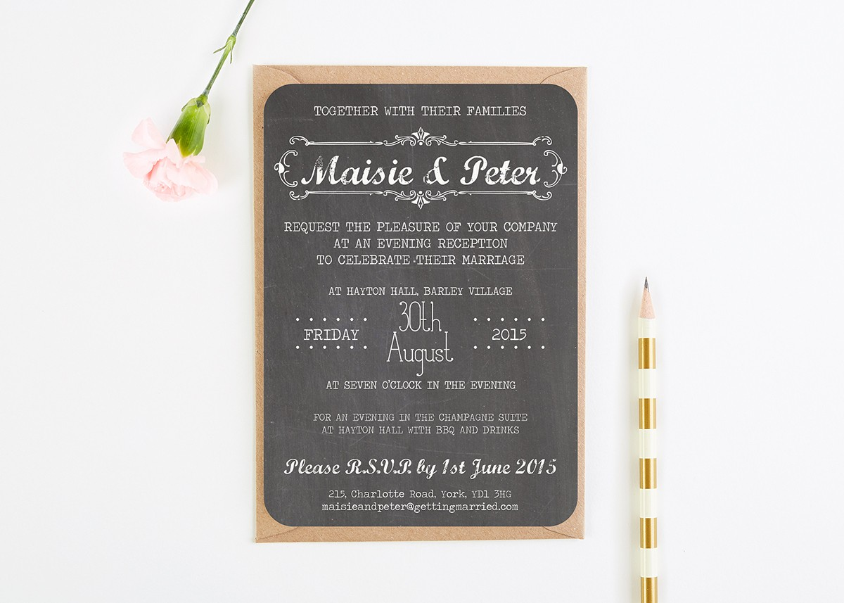 Evening Wedding Reception Invitations: Chalkboard Evening Wedding Invitations