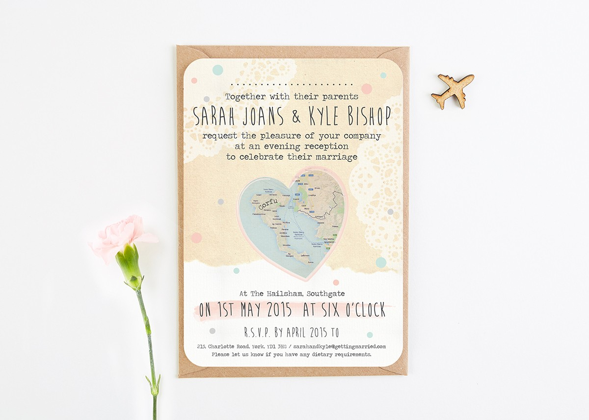 Evening Wedding Reception Invitations: Rustic Map Evening Wedding Invitations