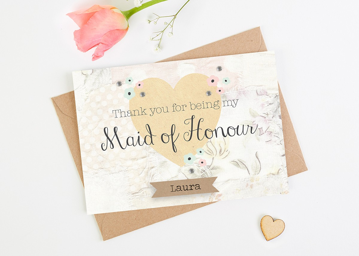Maid Of Honour Thank You Card Floral Personalised Normadorothy