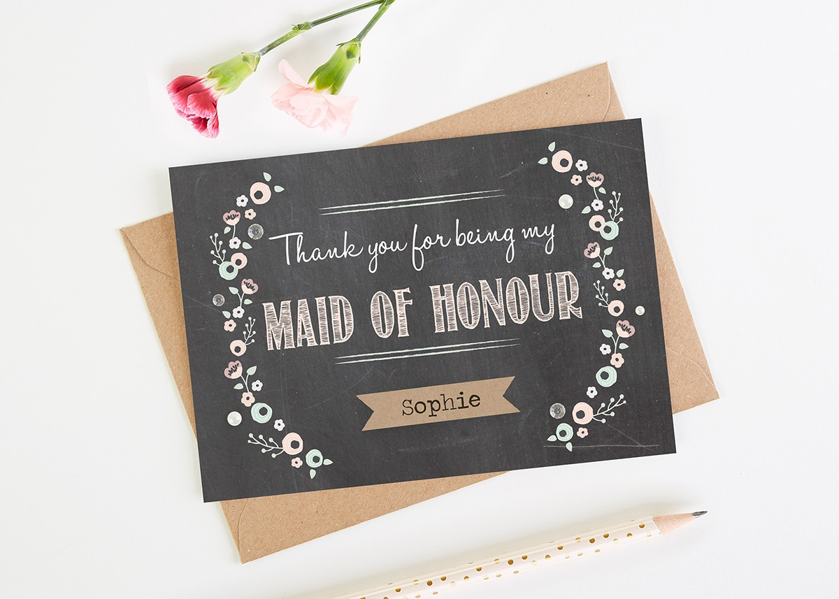 Maid Of Honour Thank You Card Chalkboard Personalised Normadorothy