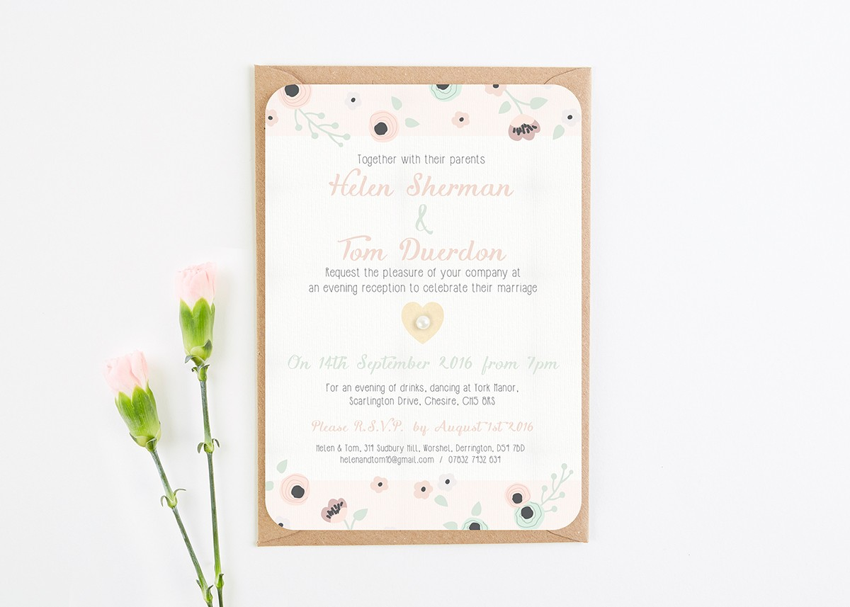 Evening Wedding Reception Invitations: Wooden Pastel Floral Evening Wedding Invitations