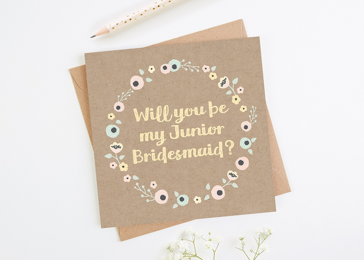 Will You Be My Junior Bridesmaid Kraft Floral Card