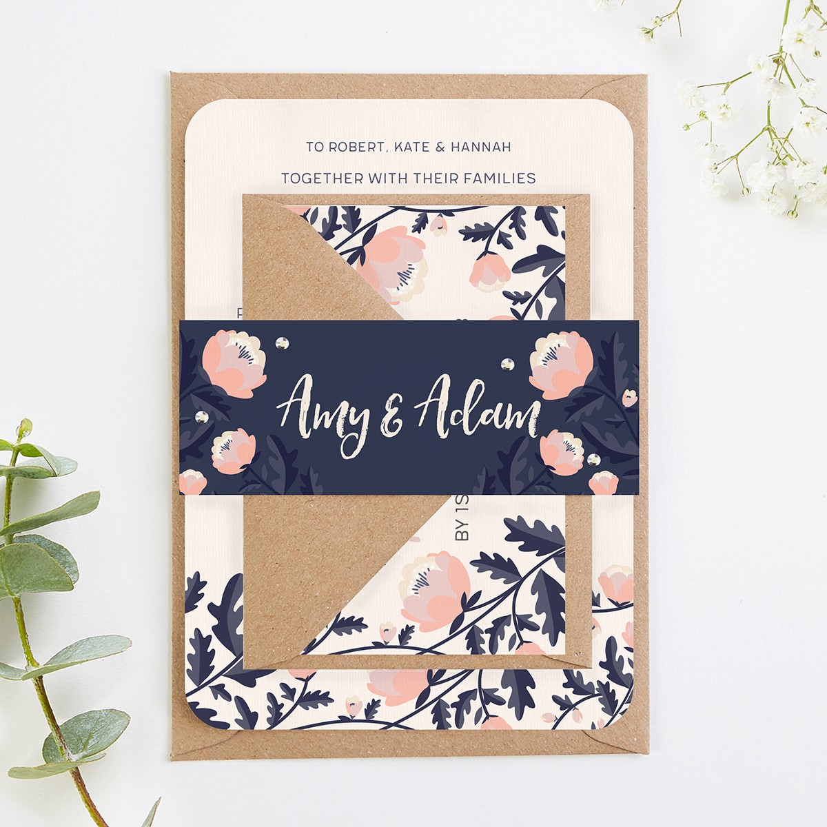 Floral Wedding Invitations.Blush And Navy Floral Wedding Invitations Norma Dorothy