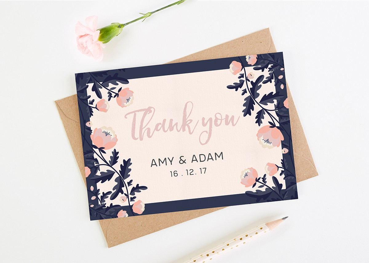 Thank You Wedding Cards.Blush And Navy Floral Wedding Thank You Cards