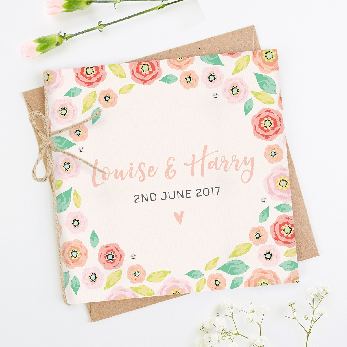 Phenomenal Bright Floral Kraft Folded Square Invite Normadorothy Personalised Birthday Cards Beptaeletsinfo