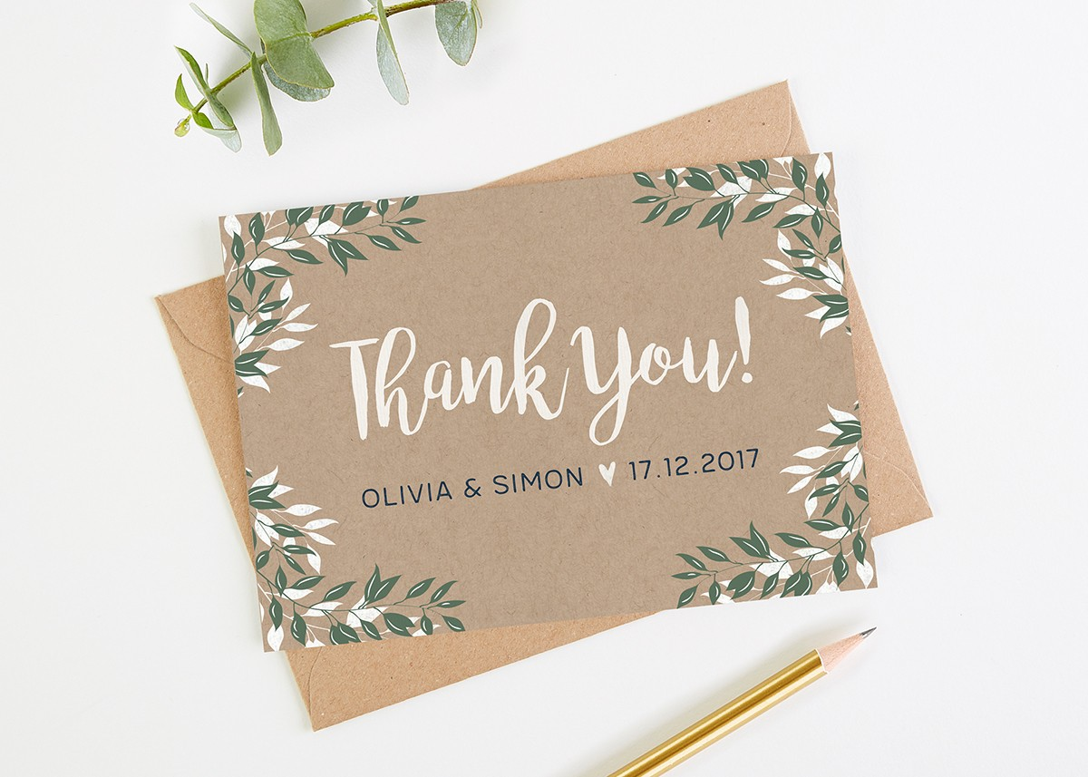 Botanical Rustic Kraft Wedding Thank You Cards