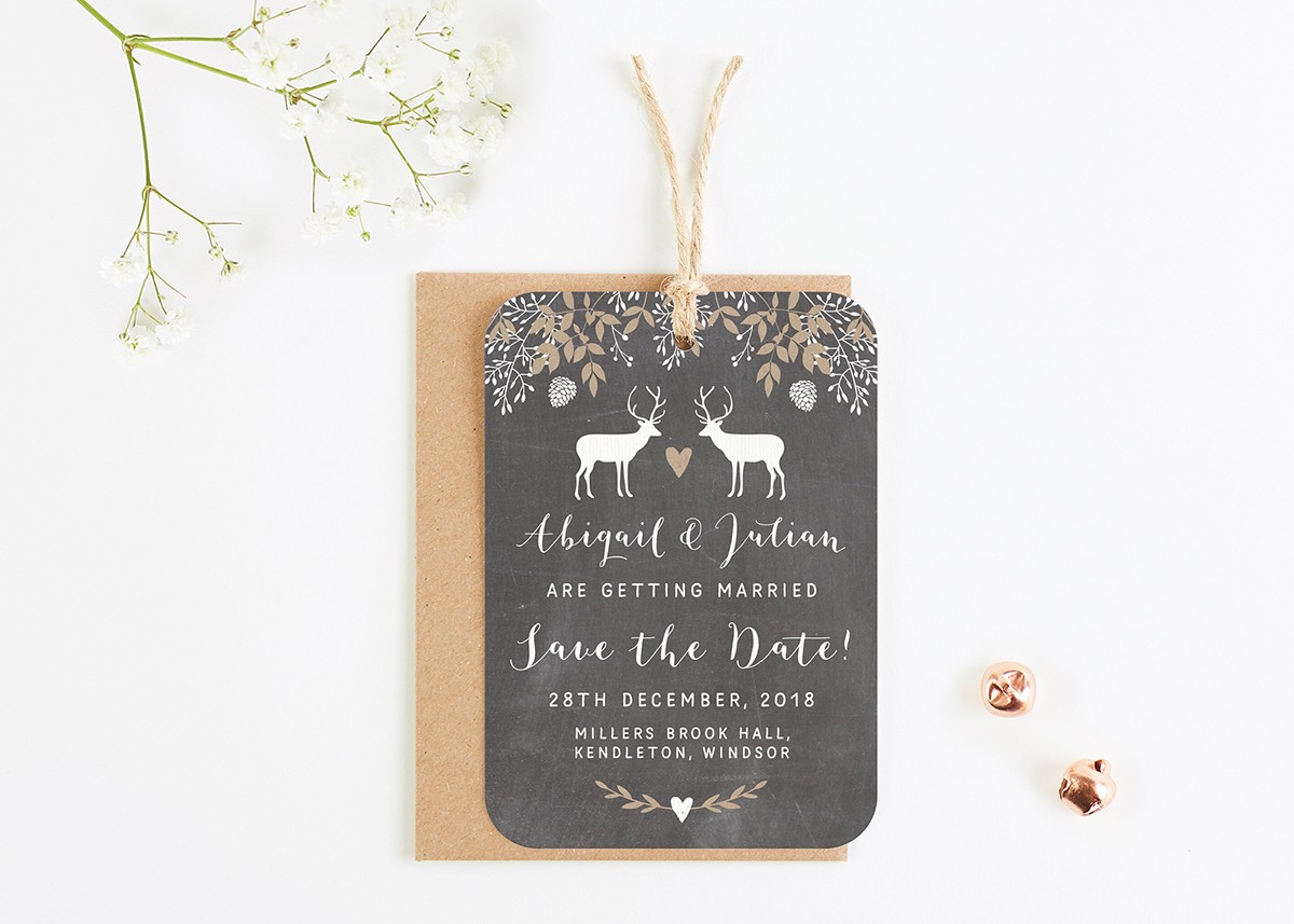 Chalkboard Winter Stag Save The Date