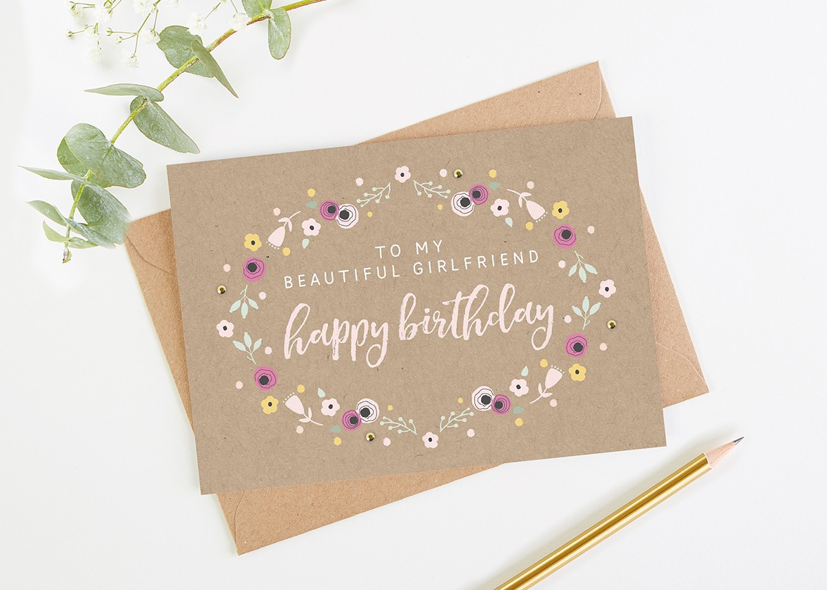 Girlfriend Birthday Card Pretty Kraft Floral