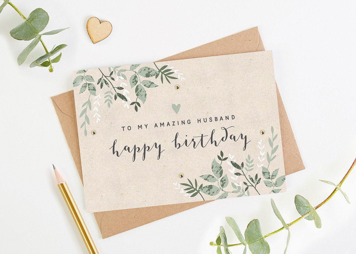 Husband Birthday Card Green Botanical
