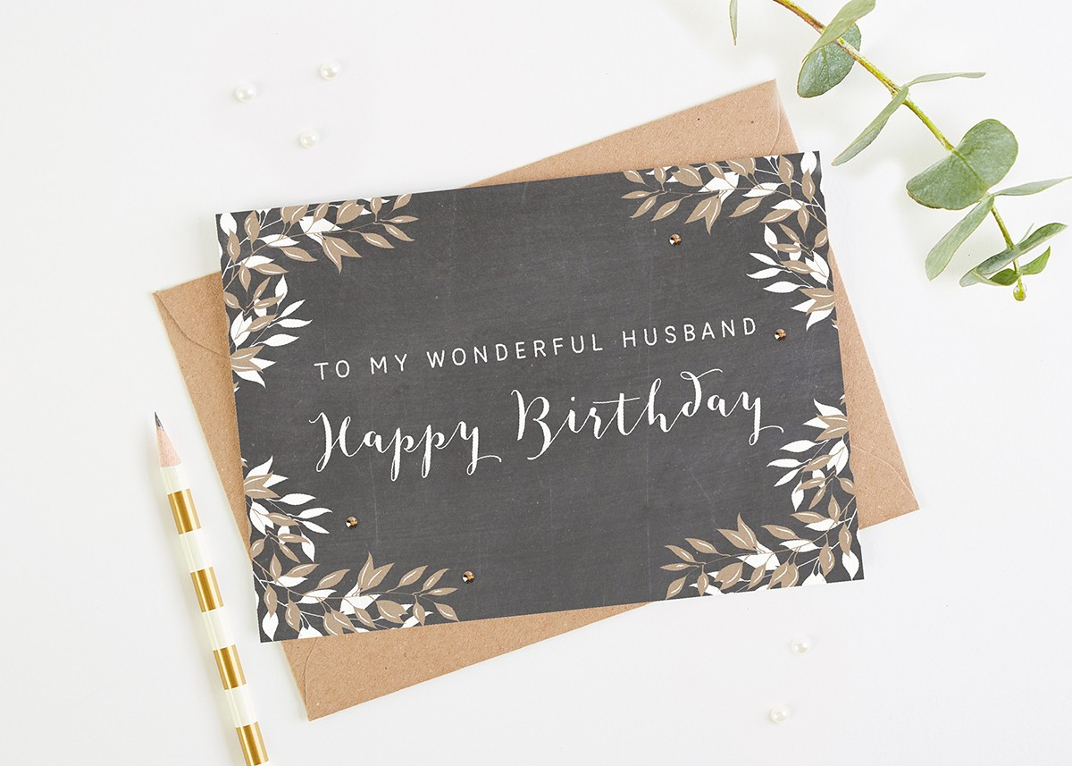 Husband Birthday Card Chalk Botanical