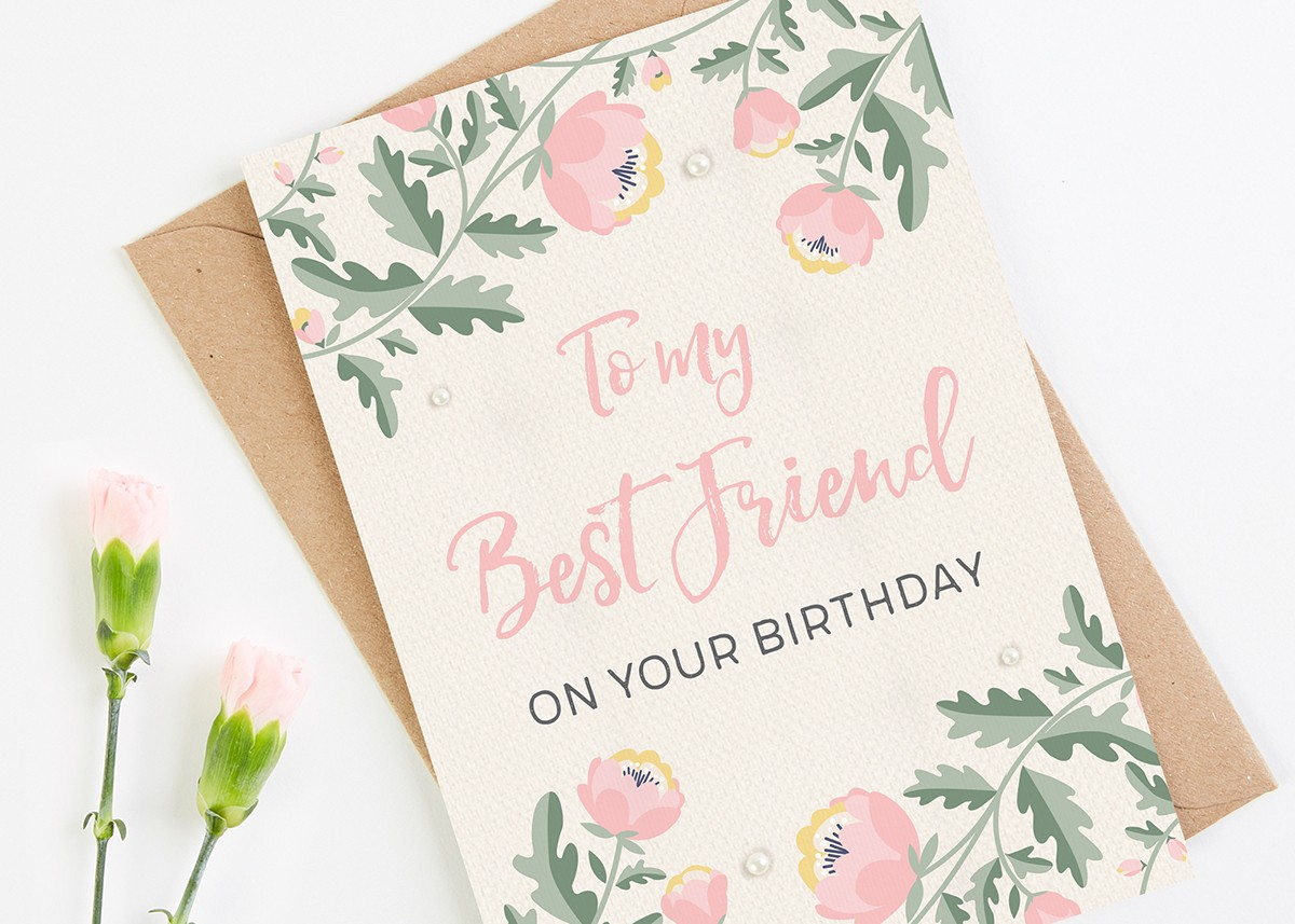 best friend birthday card pink floral  normadorothy