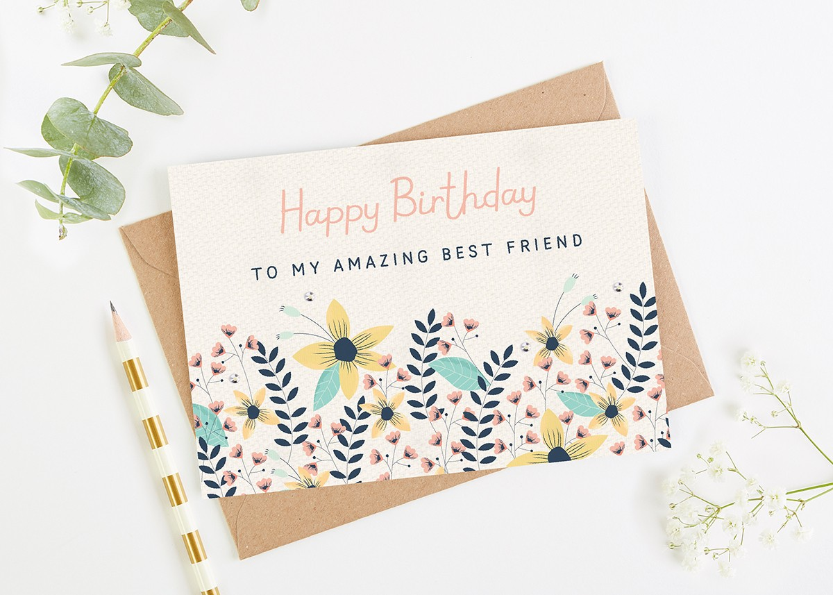 Best Friend Birthday Card Floral Bright