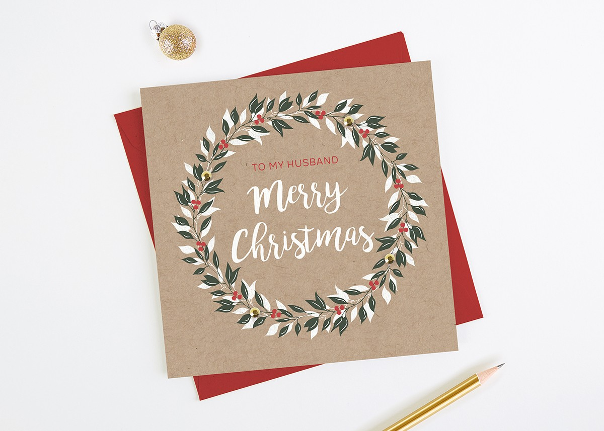 Husband Christmas Cards.Husband Christmas Card Wreath Kraft