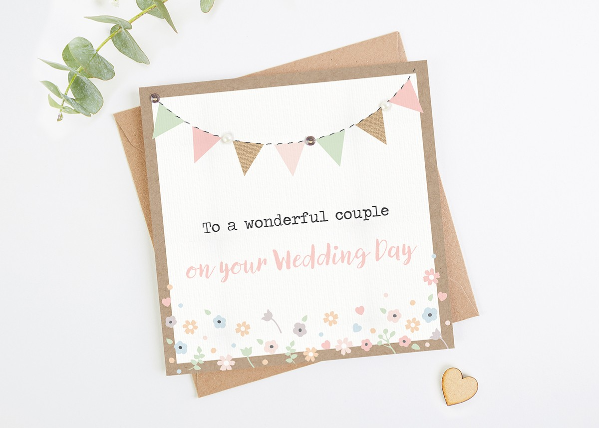 Wedding Day Card Kraft And Pastel Bunting