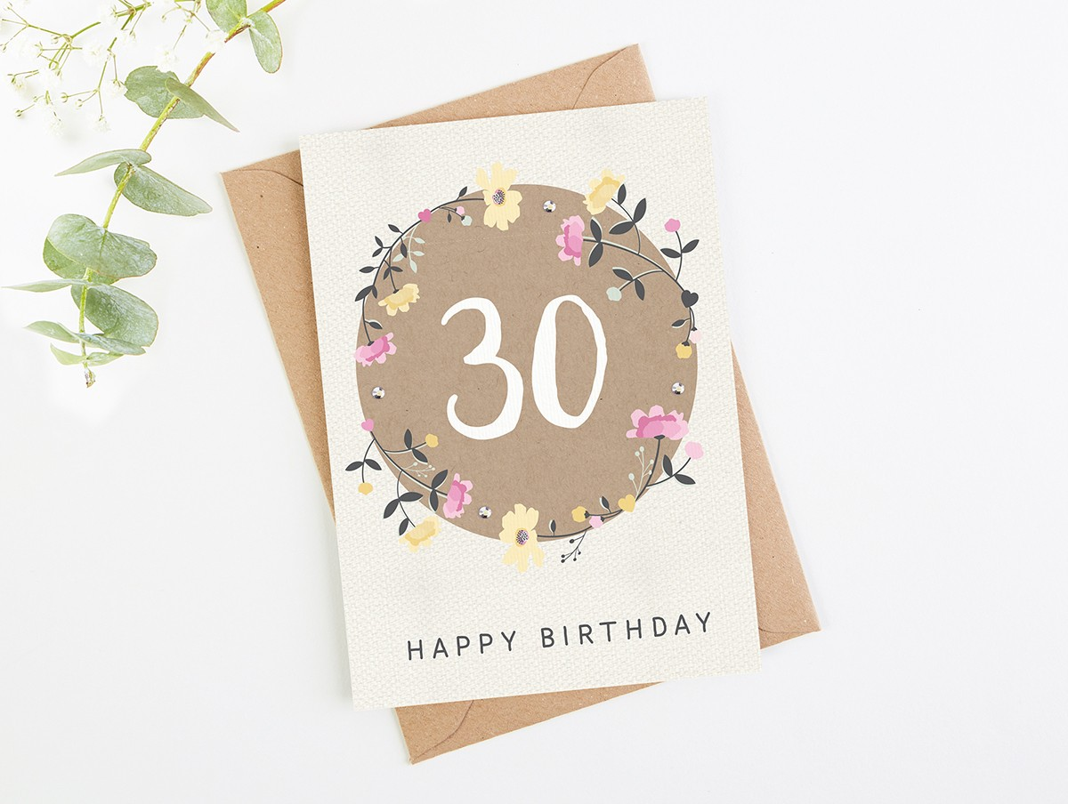 30th Birthday Card Floral