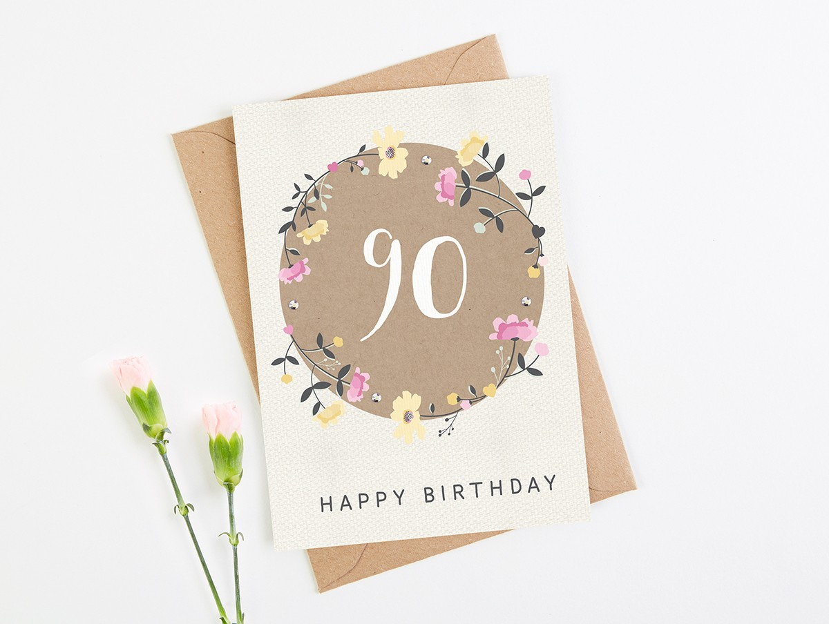 90th Birthday Card Floral