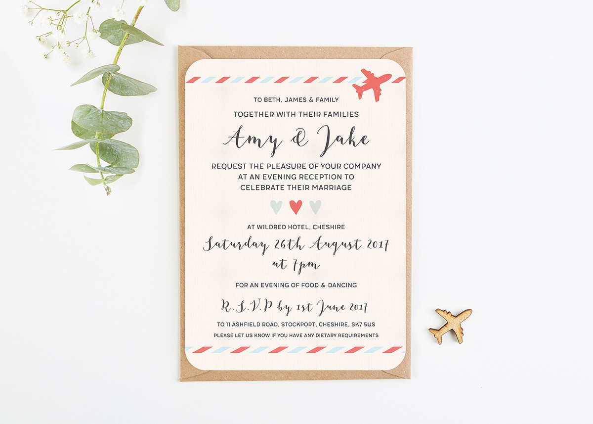 Travel Collection Map Airplane Evening Wedding Invitations