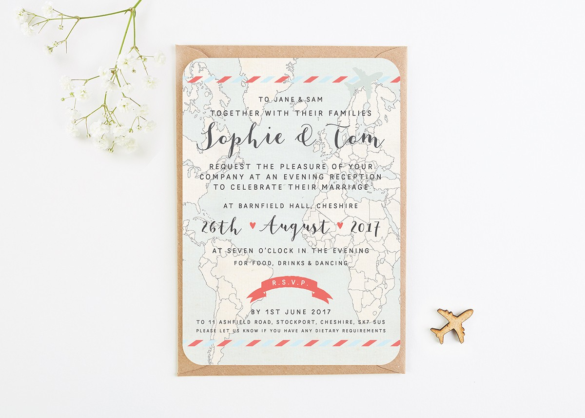Evening Wedding Reception Invitations: Map & Kraft Evening Wedding