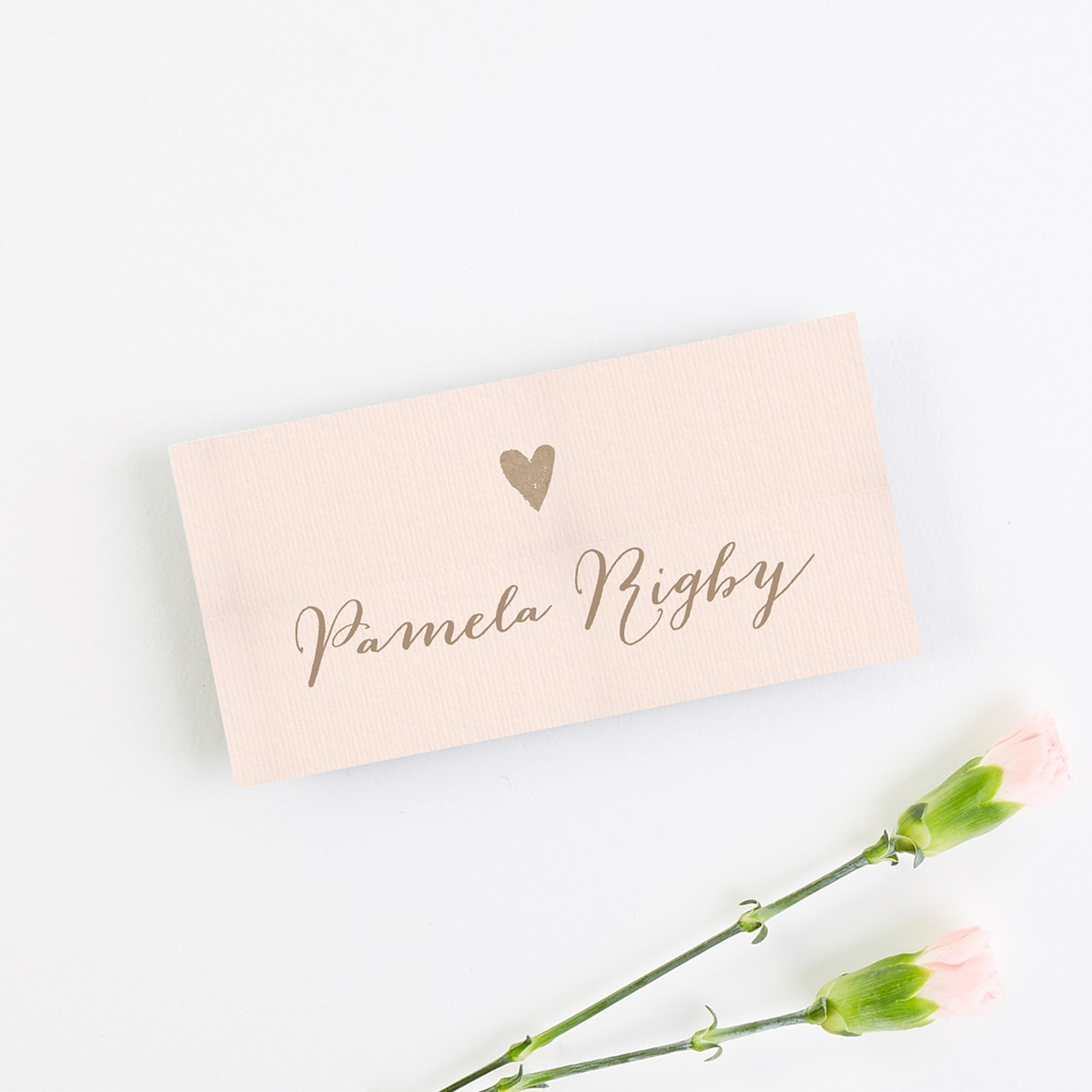 Wedding Place Cards.Calligraphy Collection Kraft Blush Folded Wedding Place Cards