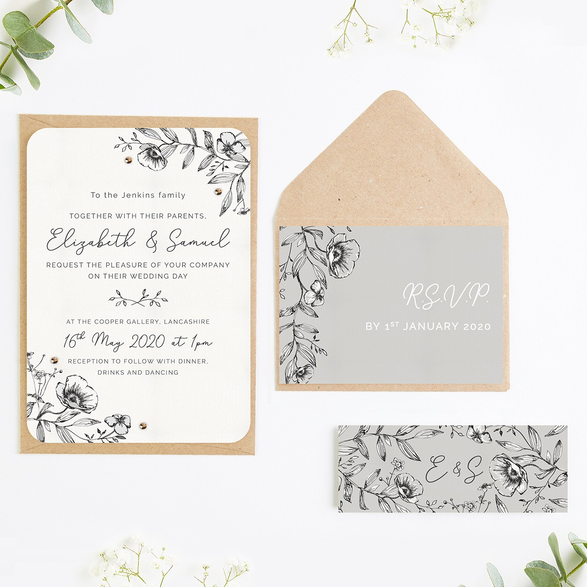 Monochrome Floral Wedding Invitations