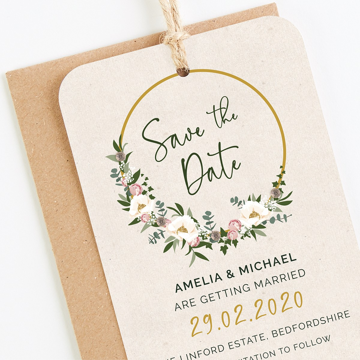 Floral Hoop Save The Date Cards
