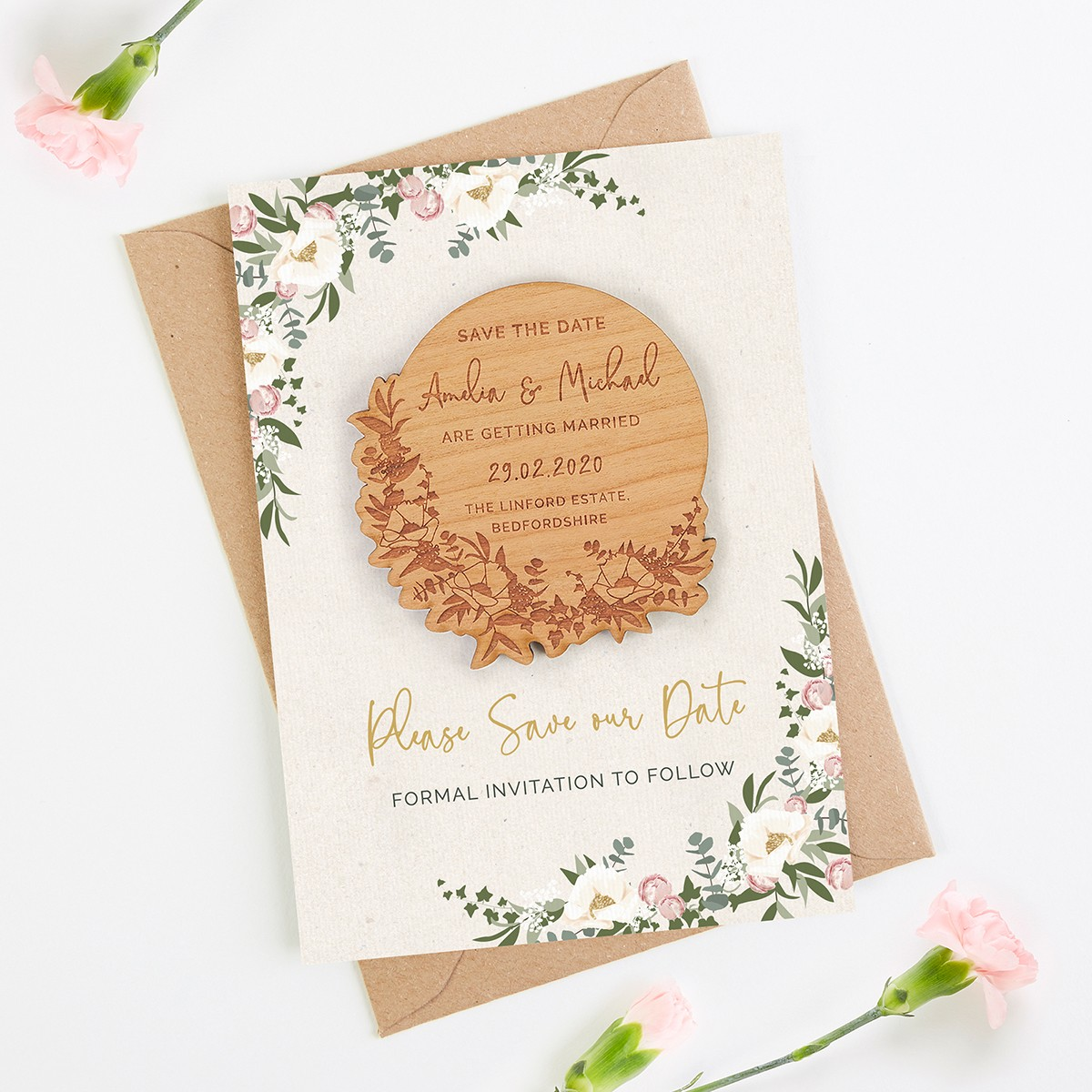 1287107c9e564 Floral Hoop Save the Date Wooden Magnet