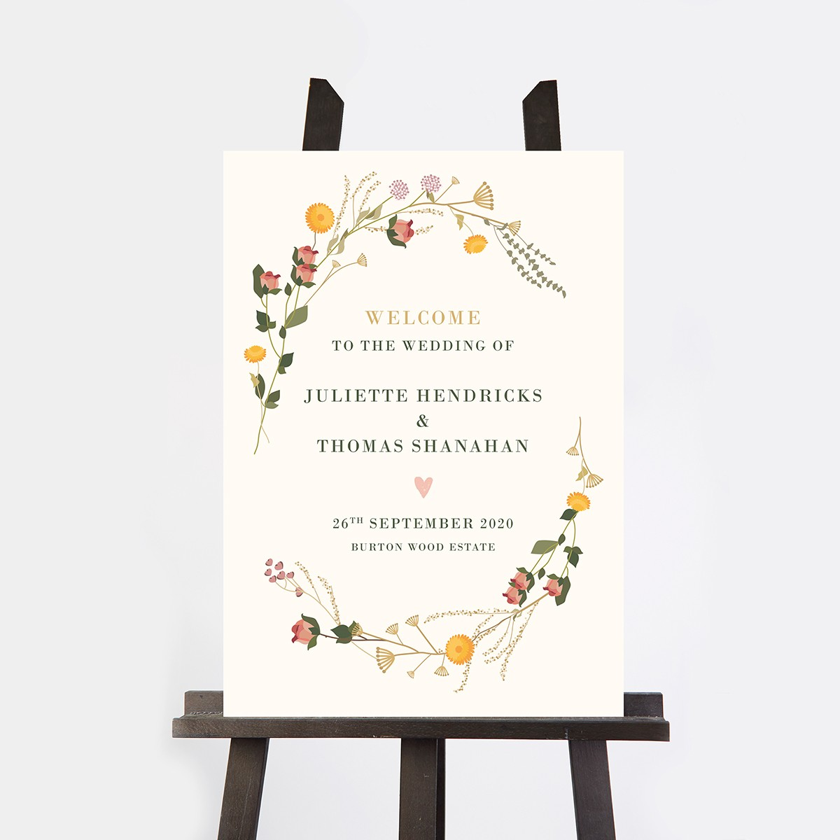 Wedding Welcome Sign.Rustic Wildflowers Wedding Welcome Sign