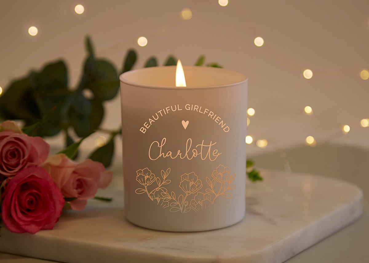 girlfriend gift personalised candle norma dorothy
