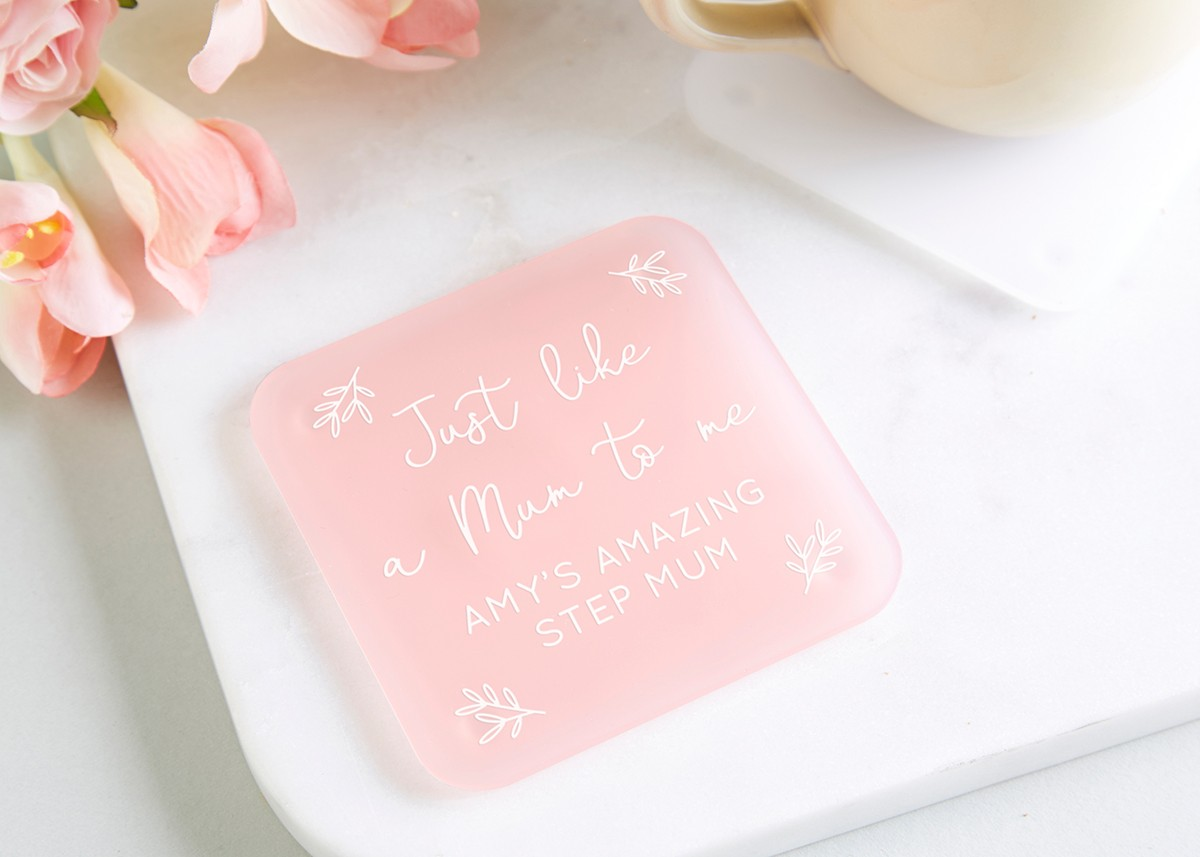 Step Mum Gift Personalised Foil Coaster - norma&dorothy