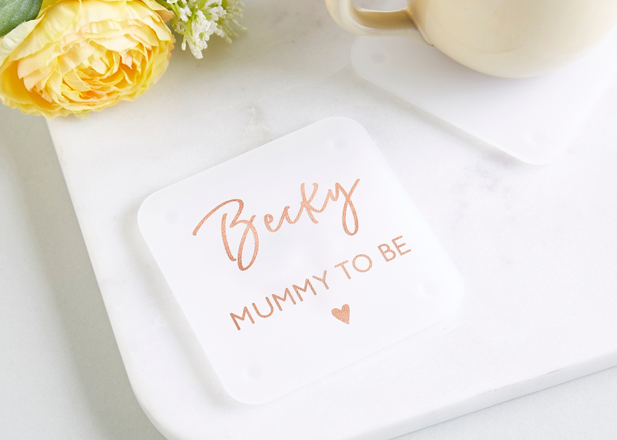 Mummy to Be Gift Personalised Foil Coaster - norma&dorothy
