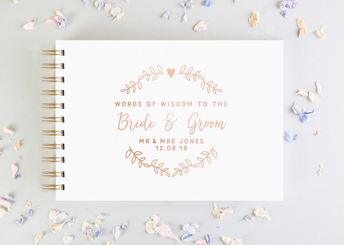 Words of Wisdom for Bride and Groom Wedding Guest Book - norma&dorothy