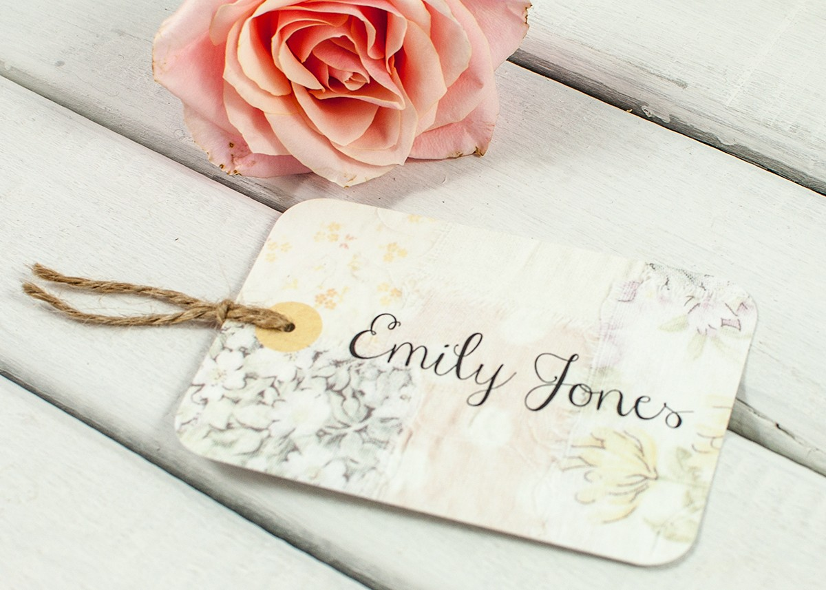Floral patchwork Luggage Tag Wedding Place Card - norma&dorothy