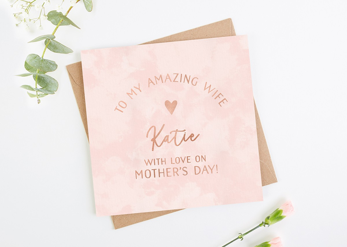 wife mother s day card rose gold foil norma dorothy