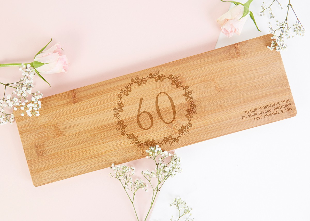 60th birthday gift floral wooden serving board norma dorothy for Gardening 60th birthday gifts