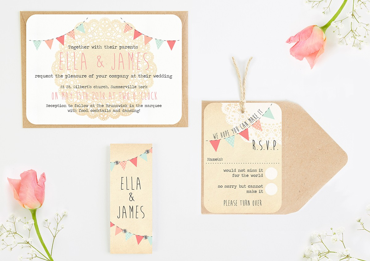 Bunting & Lace Wedding Invitations Bundle - norma&dorothy