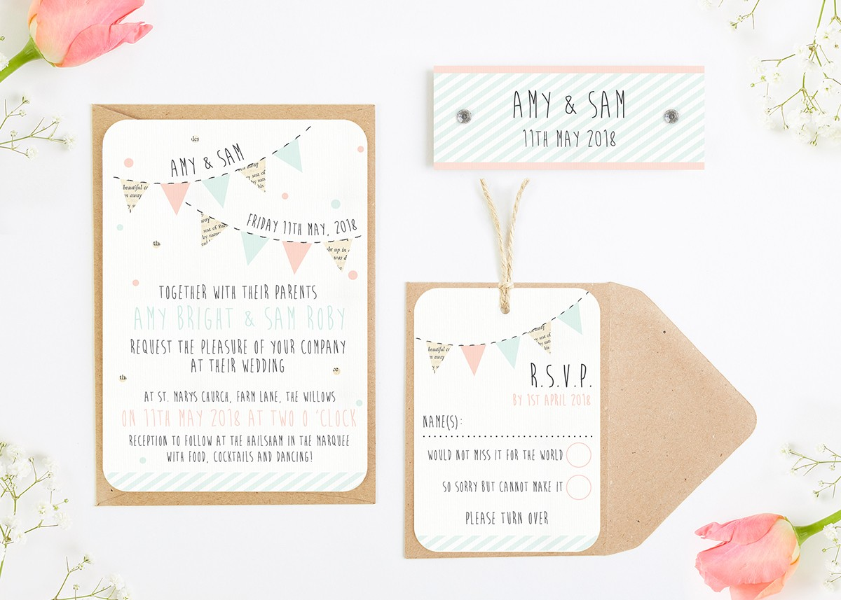 Bunting & Spots Wedding Invitations Bundle - norma&dorothy
