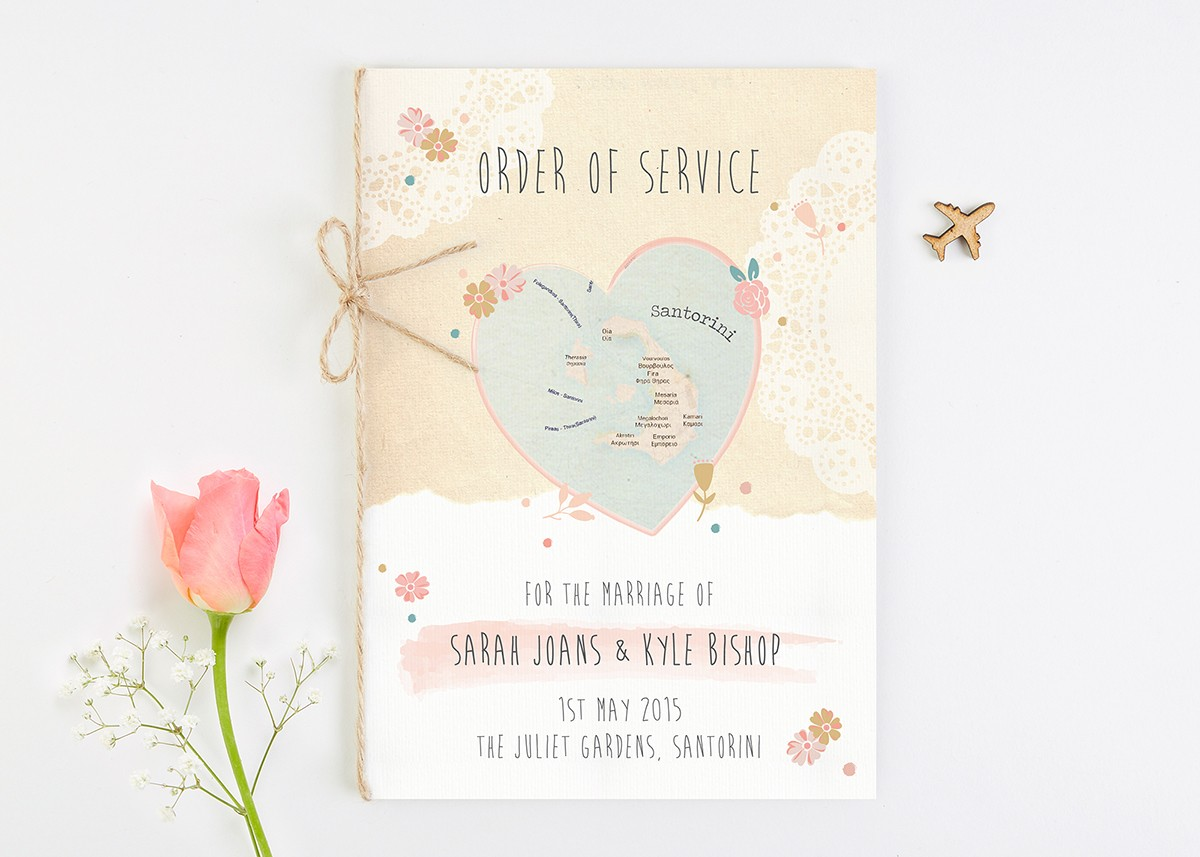 Map Floral Wedding Order of Service - norma&dorothy