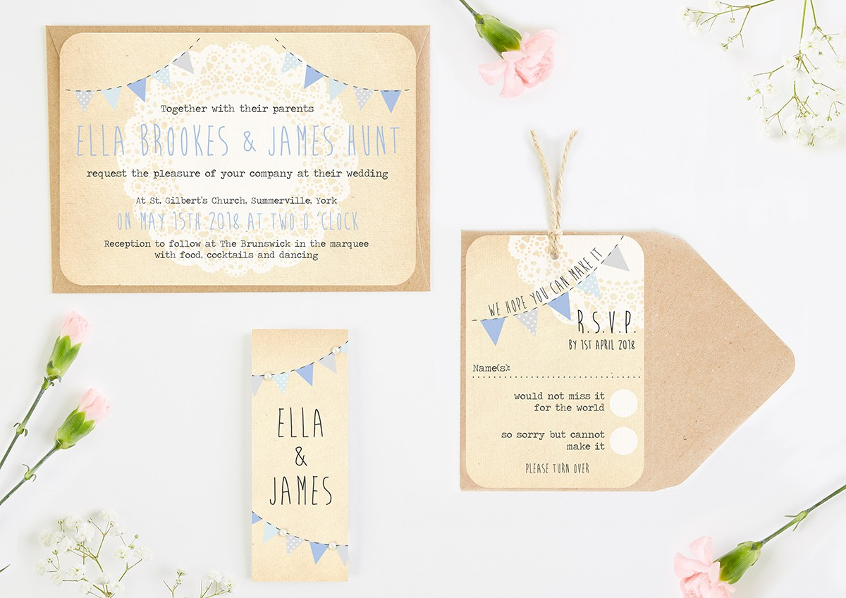Blue Ombre Bunting and Lace Wedding Invitation Bundle - norma&dorothy