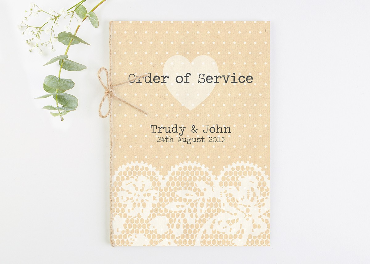 Rustic Lace Wedding Order of Service - norma&dorothy