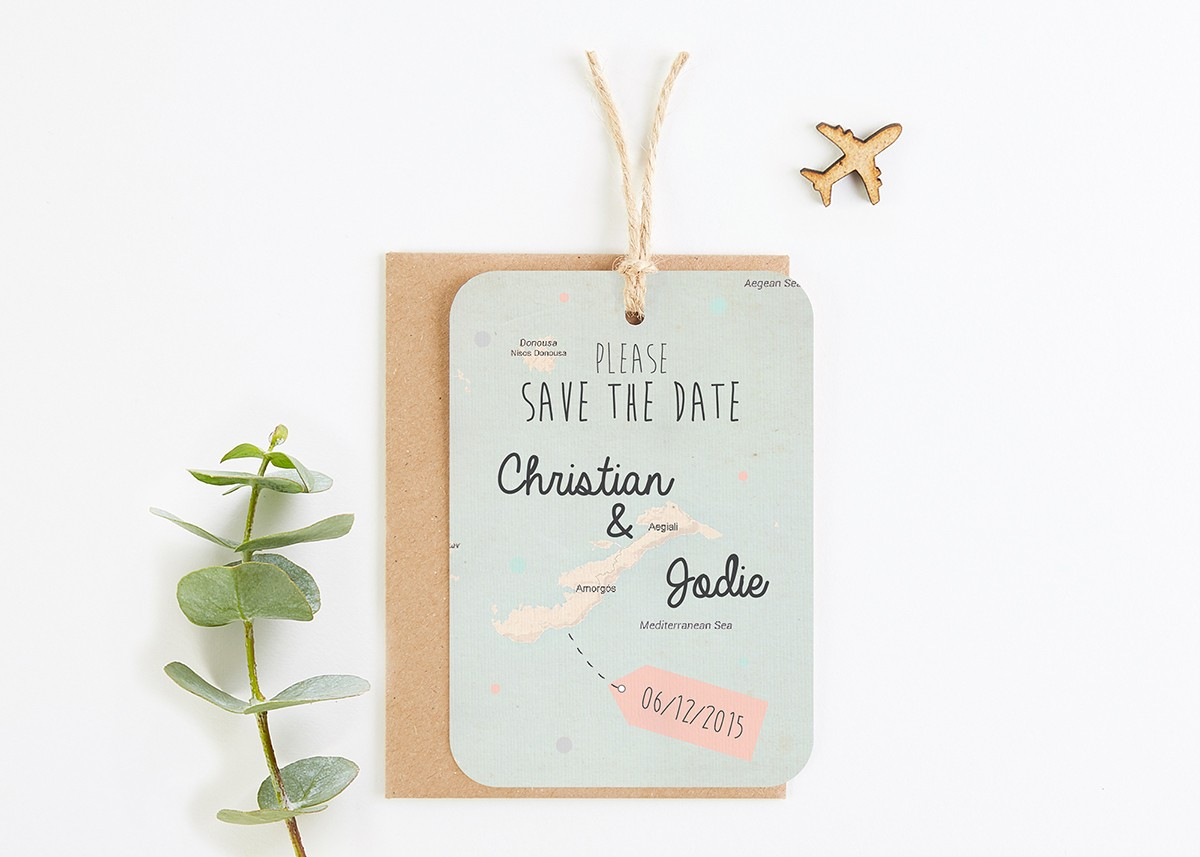 Vintage Map Save The Date Cards - norma&dorothy