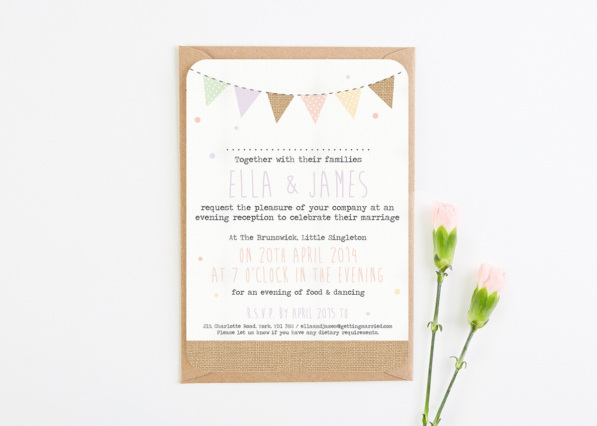 reception only wedding invitations burlap pastel bunting evening invite norma amp dorothy 6983