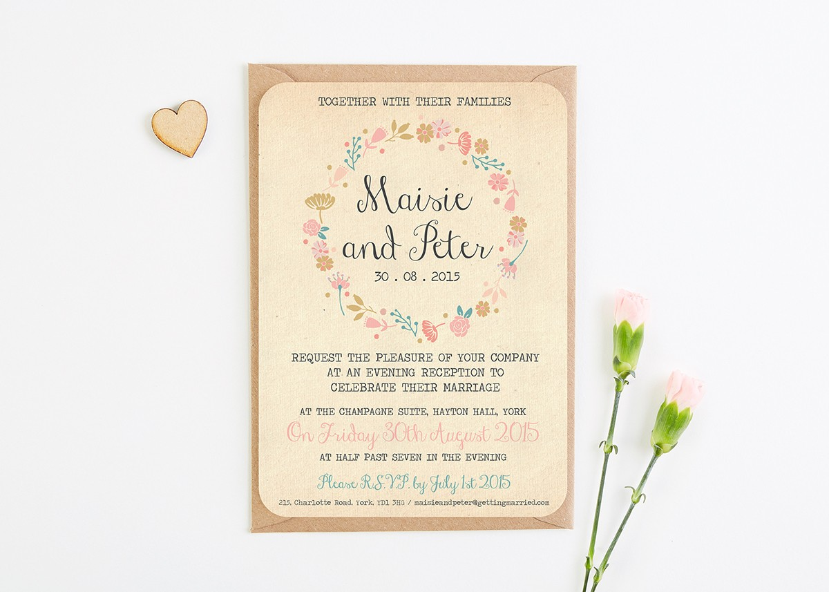 Rustic Floral Evening Invite - norma&dorothy